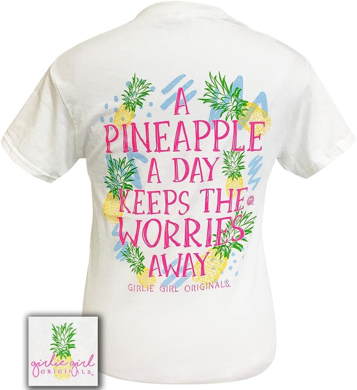 Girlie Girl Pineapple A Day Preppy Navy Short Sleeve TShirt