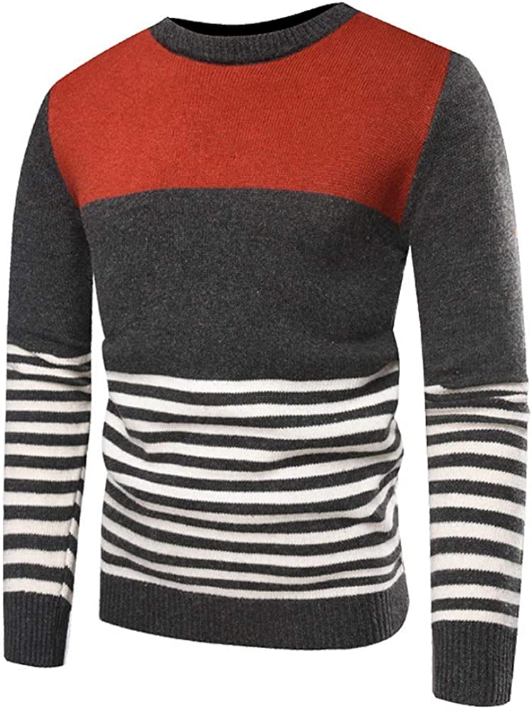 MODOQO Men's Pullover Sweater Crewneck Long Sleeve Stripe Knitted Tunic Outwear