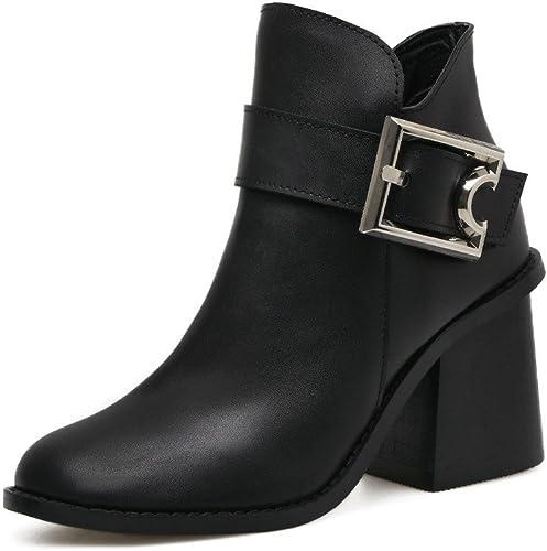 ZHZNVX botas de tacón alto de la mujer botas gruesas con clip para cinturón de cabeza rojoonda los zapatos de tacón alto