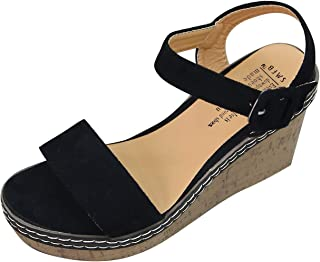 Mode Femmes Appartements Pompes Wedge Boucle Bout Pointu AntidéRapant Casual Chaussures Sandales Compensees Talons Ete Pas...