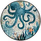 Round Area Rugs, Watercolor Sea Octopus Indoor Entryway Doormat Throw Runner Rug Floor Carpet Pad Yoga Mat for Living Room Bedroom Ocean Animal Sea Creature 4 Feet
