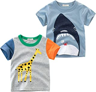 Tyidalin Lot de 2 T-Shirt Garçon à Manches Courtes en Coton Casual Cartoon Enfants Bébé Été Cartoon Tee 1-7 Ans