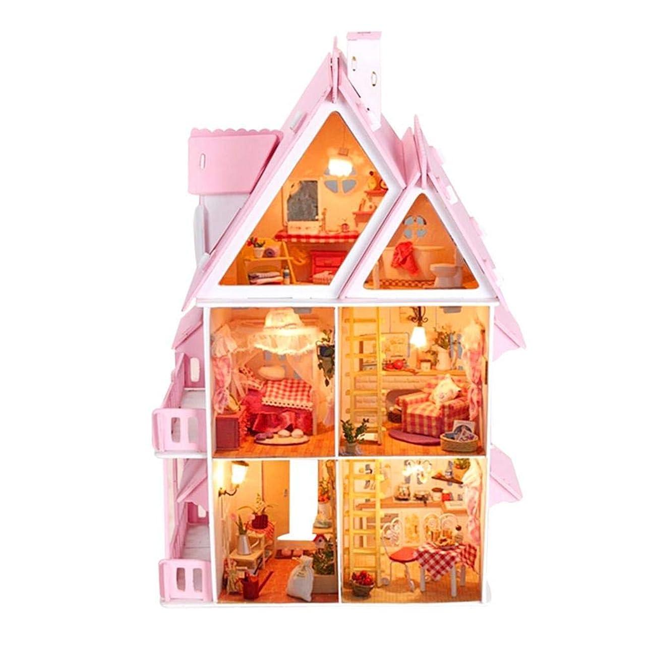 れる失われたによってmikolot 3Dパズル 木製 ハンドメイド ミニチュアドールハウス DIYキット ダブルデッカー ヴィラシリーズ ドールハウス アクセサリー 女性や女の子への最高のバレンタインギフト As Shown 261585