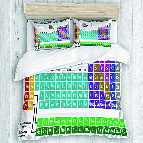 Marutuki Bedding Juego de Funda de Edredón,Mesa eriódica, Ilustraciones educativas para el Aula Science Lab Chemistry Club Camp Kids Print,Microfibra SIN Relleno,(Cama 140x200 + Almohada)