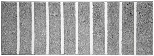 mDesign Soft Microfiber Polyester Non-Slip Extra-Long Stripe Spa Mat/Runner, Plush Water Absorbent Accent Rug for Bathroom...