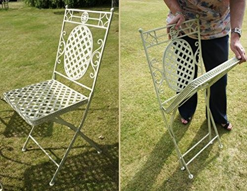 Black Country Metal Works Aunt Hilda Wrought Iron Garden Chair in Cream - Matching table available
