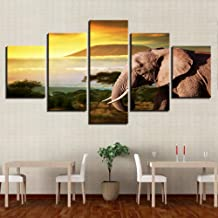 WLHRJ 5 Panel Wall Art Animal elephant Painting The Picture Print On Canvas Seascape Pictures For Home Decor Decoration Gift Piece Stretched By Wooden Frame Ready To Hang 125cm(W) x 60cm(H)