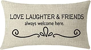 ITFRO Nice Sister Best Friends Mothers Gift Love Laughter And Friends Always Welcome Here Lumbar Cream Burlap Throw Pillow Case Cushion Cover Couch Sofa Decorative Rectangular 12x20 inches
