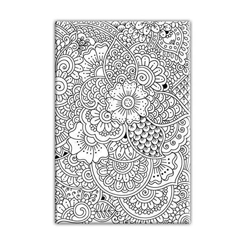 Henna Doodle Coloring Canvas For Adults, Stretched primed canvas to color