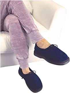 Thermo Shoes Microwavable Heating Pad by Nature Creation- Microwave Heated Foot Warmers for Men and Women - Perfect Heat Therapy Slippers for Cold Feet, Foot Pain, Sore or Tired Feet (Blue Medium)