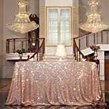PartyDelight Sequin Tablecloth, Sequin Table Overlay Square, 50'x50', Rose Gold