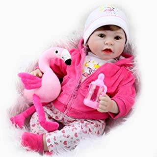 Aori Lifelike Reborn Baby Doll Realistic Vinyl Doll 22 Inch Baby Toy with Pink Flamingo Set