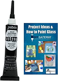 Glass Paint Outliner Black Leading: Permanent Bake Bonding Technology, Create Faux Lead Lines for Glass Stain Painting + Ebook