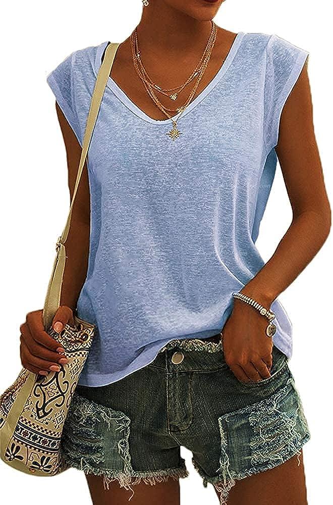 GeGekoko Womens Cap Sleeve Shirts Summer Solid Casual Tank Tops
