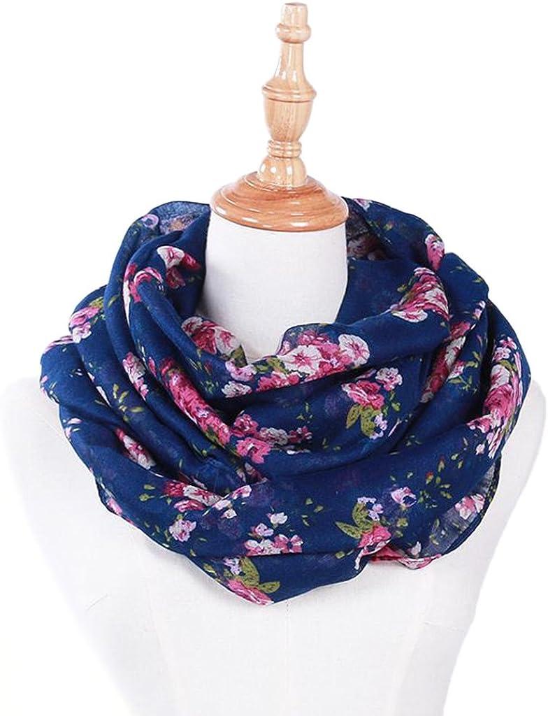 MEIYIN Women Vintage Loop Scarves Circle Fashion Floral Printed Cowl Neck Wrap Shawl