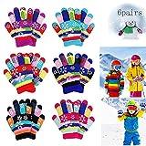 MEISHANG 6 Paar Kinder Winterhandschuhe Fäustlinge,Kinderhandschuhe Winter,Winter Warme Strickhandschuhe,Kinder Warme Handschuhe,Stretch Vollfinger Handschuhe,Handschuhe Kinder