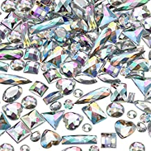 500 Pieces Sewing Gems Acrylic Sewing Crystal Mixed Shapes Sew On Rhinestones with 2 Holes for Clothes Sewing Beads Decorations (Crystal AB)