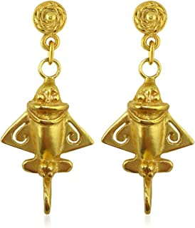 Across The Puddle, Ancient Aliens Jewelry Collection, 24k Gold Plated Pre-Columbian Quimbaya Golden Jet-3 / Ancient Aircraft-3 / Golden Flyer-3 Dangle Earrings
