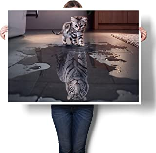 PICINST Believe In Yourself Cat Tiger Poster And Print Kitten Seeing A Tiger In A Puddle Canvas Painting Living Room Wall Art Decoration (75cmX50cm frameless)