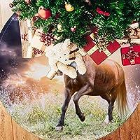 ツリースカート クリスマスツリースカート 馬 光 かっこいい ホリデーデコレーション メリイクリスマス飾り 下敷物 可愛い 雰囲気 クリスマスパーティー 直径77cm