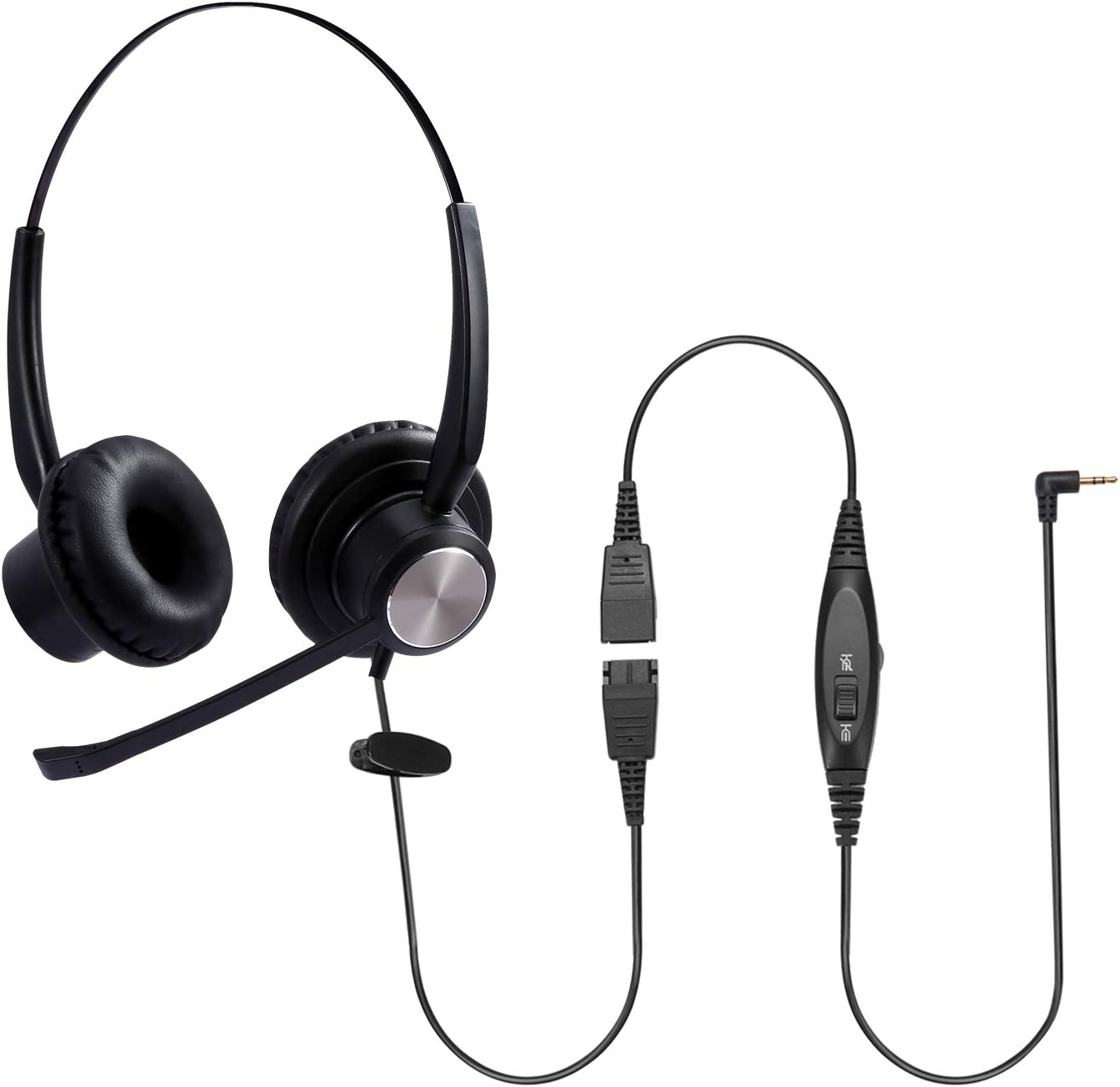 Sinseng Office Headsets with Mic Noise Cancelling for Landline Deskphone Cell Phone PC Laptop, Corded Headset with Jack 2.5mm for AT&T ML17929 Panasonic Vtech RCA Uniden Cisco SPA Grandstream Polycom