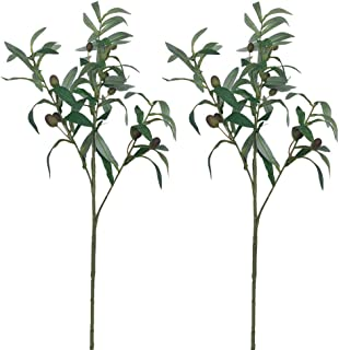 Aisamco 2 Pcs Artificial Olive Plants Branches Fruits Branch Leaves in Green 28