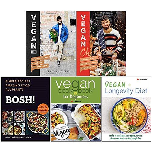Vegan 100 [Hardcover], Vegan Christmas Cookbook [Hardcover], Bosh Simple Recipes [Hardcover], Vegan Cookbook For Beginners, Vegan Longevity Diet 5 Books Collection Set