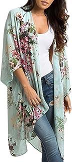Fankle Women's Sheer Chiffon Floral Kimono Cardigan Long Blouse Loose Sale Flowy Tops Outwear