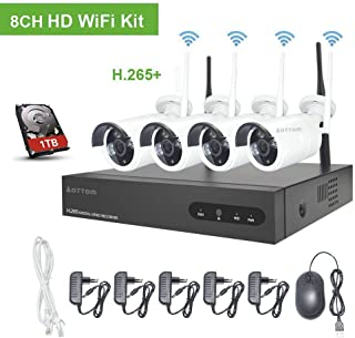 Kit de Vigilancia de Video WiFi Aottom 1080P 8CH Kit de Seguridad inalámbrica 4 Camaras Sistema Seguridad WiFi Visión Nocturna Detección Movimiento Email Alarmas App Android/iOS Incluye 1TB HDD