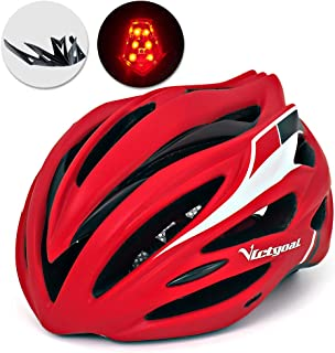 VICTGOAL Bike Helmet with Detachable Visor Back Light & Insect Net Padded Adjustable Sport Cycling Helmet Lightweight Bicycle Helmets for Adult Men and Women Youth Teenagers