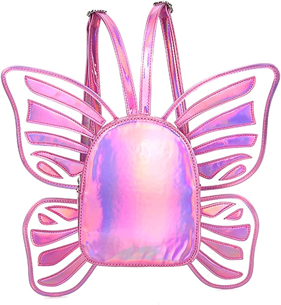 100% quality Max 80% OFF warranty Women Fairy Backpack Butterfly Wings PU Leather Style f Daypack