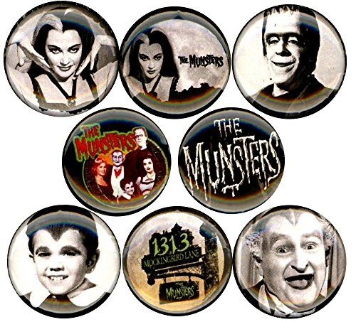 """The Munsters x 8 NEW 1"""" inch (25mm) pins button badge herman lily eddie grandpa tv show …"""