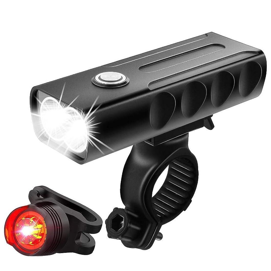 残酷クレデンシャルスーツケースMucrow リフレクター 自転車ライト USB充電式 高輝度 LEDヘッドライト 自転車ヘッドライト 3モード点灯 IPX5 防水 防振 アルミ合金製 懐中電灯兼用 テールライト付き(ブラック)