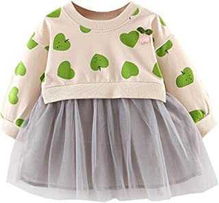 Xifamniy Infant Girls Fashion Skirt Cute Heart Print Sweatshirt Stitching Tulle Dress