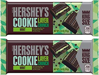 Hershey's (2) Candy Bars Cookie Layer Crunch Mint - Dark Chocolate Bars with Chocolate Cookie Bits and Mint Creme - King Size Net Wt. 2.8 oz each