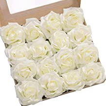 Ling's moment Rose Artificial Flowers 16pcs Realistic Ivory Avalanche Roses with Stem for DIY Wedding Bouquets Centerpieces Floral Arrangements Decorations