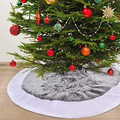 Falda De Árbol De Navidad De 36 Pulgadas, Falda De Árbol Bordada De Felpa, Decoraciones Navideñas Rústicas De Árbol De Navidad, Para Decoraciones Navideñas Caseras
