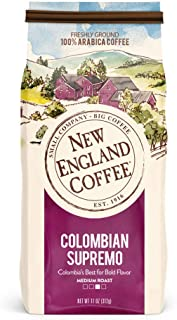 New England Coffee Colombian Supremo, Medium Roast Ground Coffee, 11 Ounce (1 Count) Bag