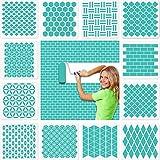 12 plantillas geométricas de pared grandes (30 x 30 cm), de efco, de plástico reutilizables, para paredes, suelos, azulejos, madera, decoración textil, muebles, scrapbook diario, decoración del hogar