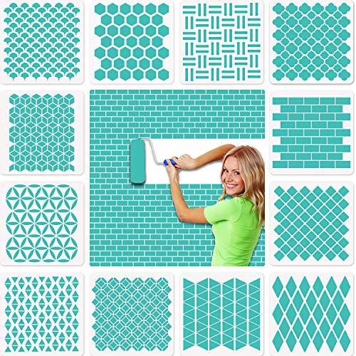 12 Stück Geometrische Wand schablonen groß(30x30cm), efco Kunststoff Wiederverwendbare Waben Stencil Schablonen für Wände Boden Fliesen Holz textilgestaltung Möbel Scrapbook Tagebuch DIY Home Dekor