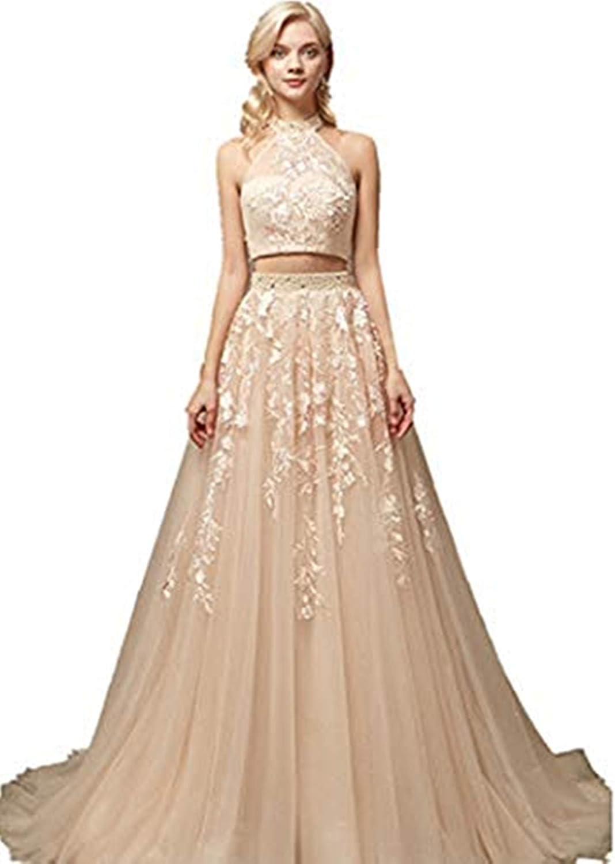 Annadress Net Prom Dresses Applique Two Piece Evening Dresses Long Quinceanera Dresses for Women