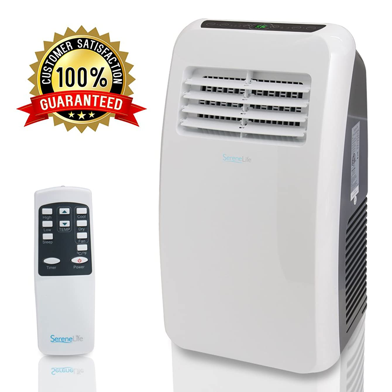 SereneLife 8,000 BTU Portable Air ir Conditioner, 3-in-1 Floor AC Unit with  Built-in Dehumidifier, Fan Modes, Remote Control, Complete Window Mount Exhaust Kit for Rooms Up to 200 Sq. Ft
