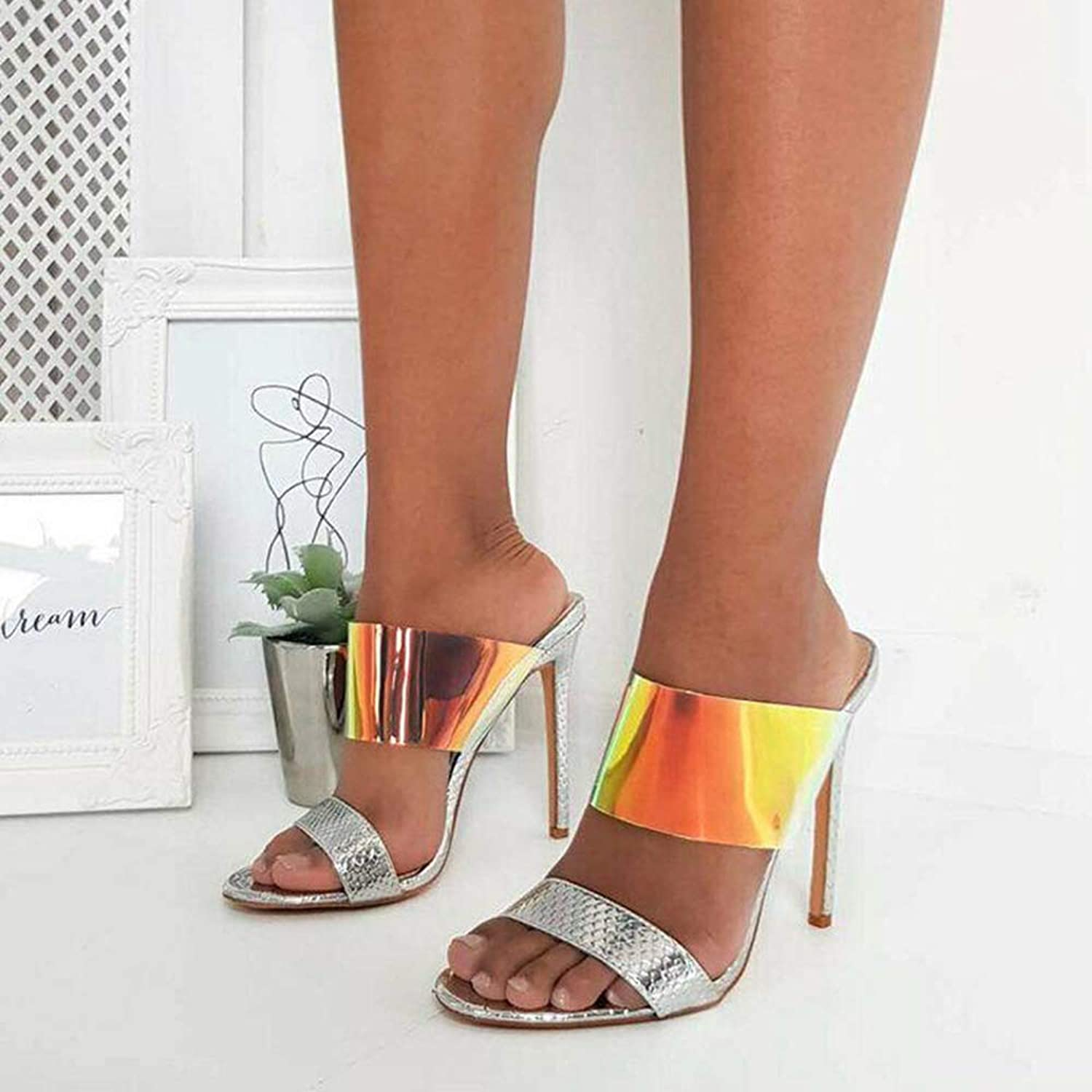 Womens Fashion Sexy Pointed Open Toe Stiletto High Heeled Sandals Slippers Mules Slide Backless Pumps shoes,Silver,6MUS