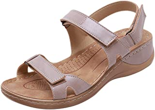 Women Open Toe Wedges Sandals, Ladies Solid Round Toe Summer Sandal Beach Shoes