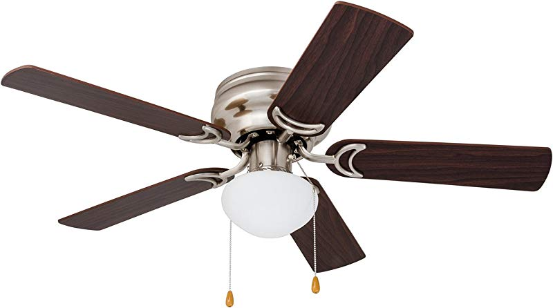 Prominence Home 80029 01 Alvina Led Globe Light Hugger Low Profile Ceiling Fan 42 Inches Satin Nickel