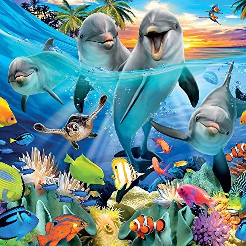 Geburtstagskarte Delfine & Fisch 3D Lentikular/Hologramm