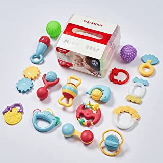Eners 16 Pcs Baby Rattles Toys Set, Baby Toys, Infant Shaker, Grab and Spin Rattles, Musical Toy Set, Early Educational To...