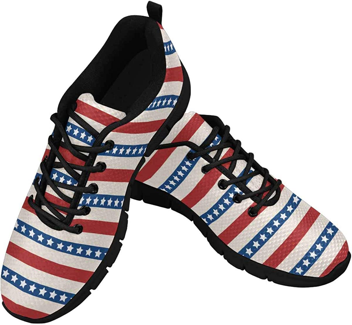 InterestPrint American Patriotic Stars and Stripes Women's Breathable Sneaker