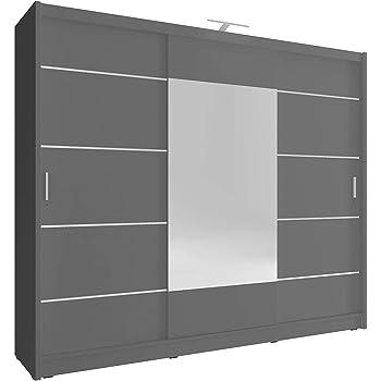 Armario de roble de 3 puertas correderas con espejo grande y luz LED para dormitorio de estilo moderno, (blanco, marrón oscuro y claro), de SARAH 250 ALU: Amazon.es: Hogar