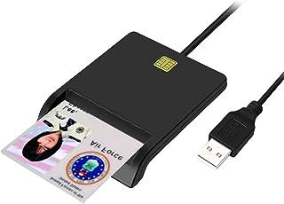 スマートチップリーダーICカードリーダーライター 国税電子申告 e-Tax USB接続 カードリーダライタ パソコン ICカードリーダー 接触型、電子申告など便利 (ブラック)